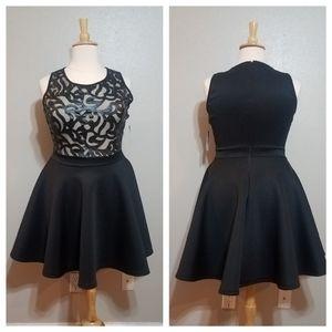 FASHION TO FIGURE Black Mesh Scroll Skater Dress